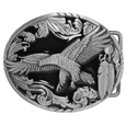 Western Eagle/Feathers Enameled Belt Buckle