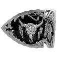 Buffalo Skull in Arrowhead Enameled Belt Buckle