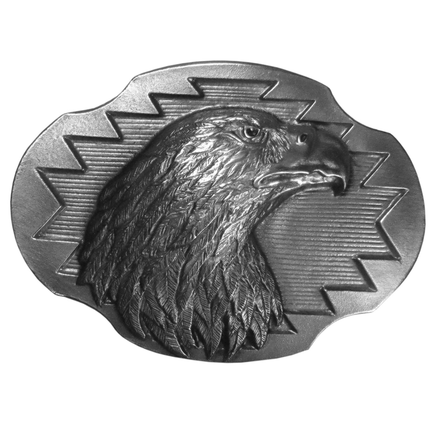 "Eagle Antiqued Belt Buckle - ""This exquisitely carved belt buckle features the head of an eagle surrounded by design details and is made of fully cast metal with a standard bale that fits up to 2"""" belts."""