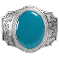 Blue Stone Enameled Belt Buckle