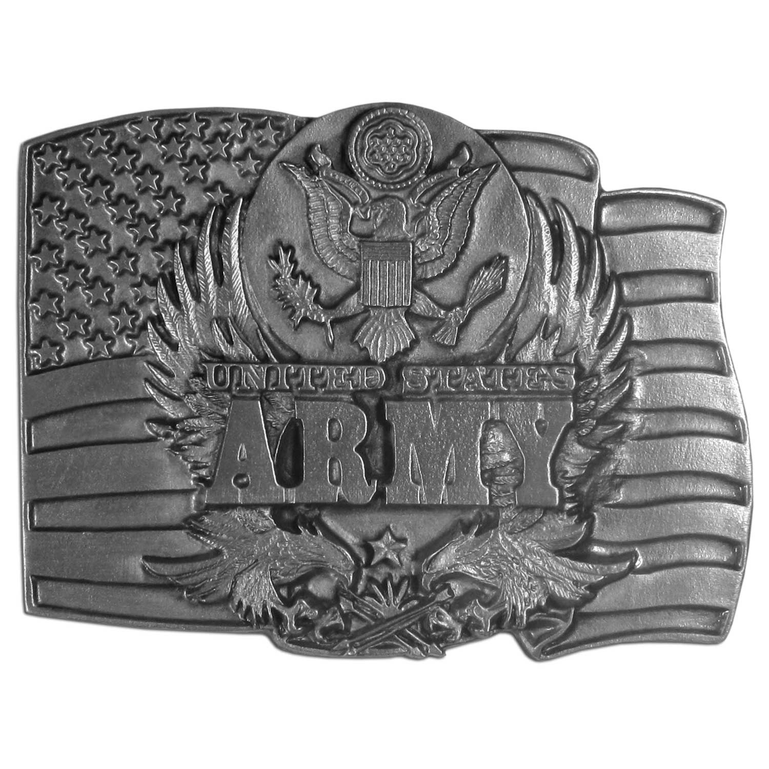 "Army Antiqued Belt Buckle - ""This belt buckle celebrates the United States Army!  There is the Army seal on the top, """"United States Army"""" written in bold, two eagles with their wings outstretched and an American flag.  This exquisitely carved buckle is made of fully cast metal with a standard bale that fits up to 2"""" belts."""