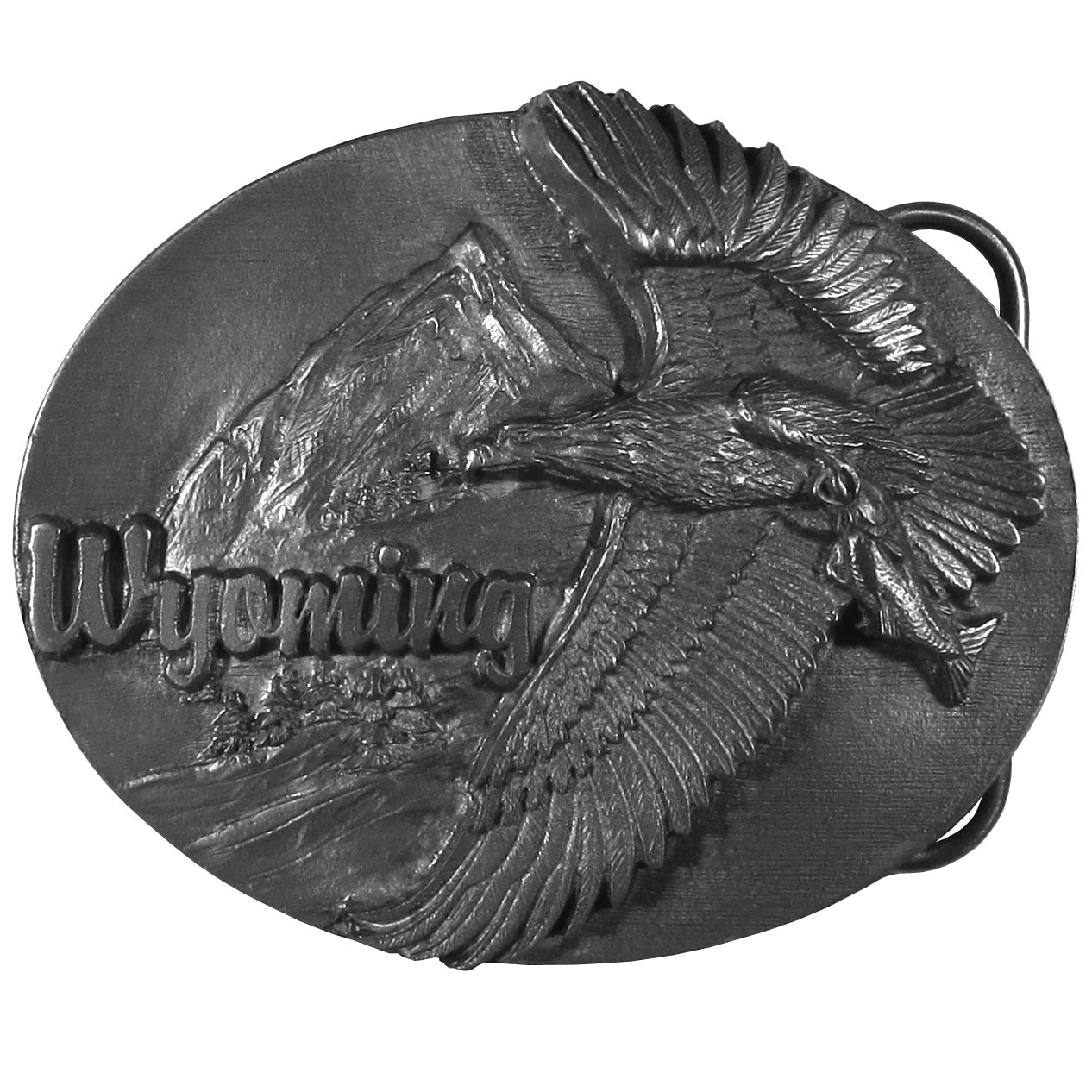 "Wyoming Eagle  Antiqued Belt Buckle - ""This belt buckle celebrates the state of Wyoming!  """"Wyoming"""" is written in bold across the top.  There is an eagle soaring through the sky with a fish in it's claws.  In the background are a mountain and trees.  Siskiyou's unique buckle designs often become collector's items and are unequaled with the best craftsmanship."""