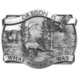 Oregon Antiqued Belt Buckle