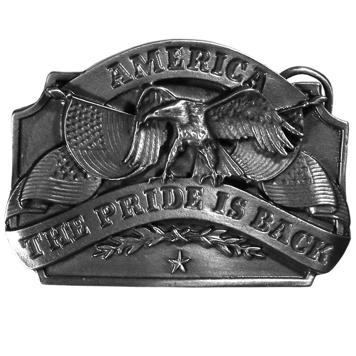 "American Pride Antiqued Belt Buckle - ""This finely sculpted and hand enameled American Pride belt buckle has """"America, the Pride is Back"""" written in bold across the center.  There are an eagle and American flags as well. Siskiyou's unique buckle designs often become collector's items and are unequaled with the best craftsmanship."""