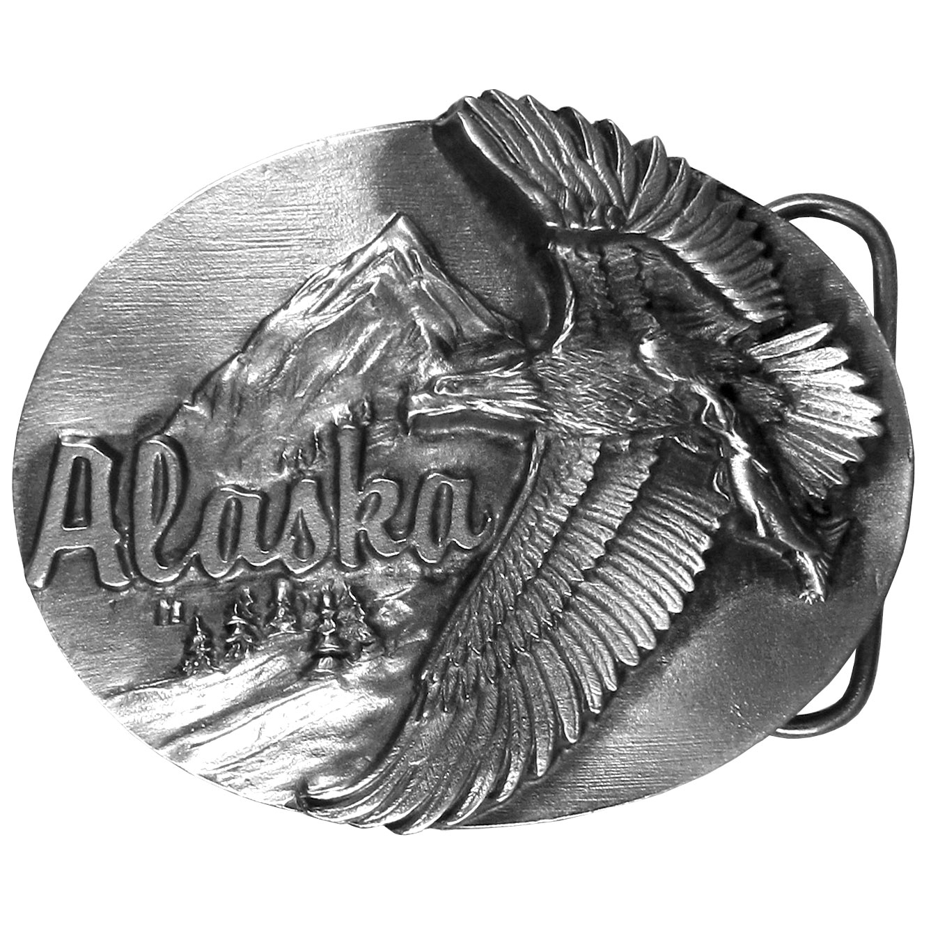 "Alaska Antiqued Belt Buckle - ""This fully cast metal belt buckle has intricate details celebrating the breathtaking landscape of Alaska. The beautiful carvings feature an Eagle flying through the sky with a fish in its claws and a background of majestic mountains.  """"Alaska"""" is written in bold.  This exquisitely carved buckle is made of fully cast metal with a standard bale that fits up to 2"""" belts."""