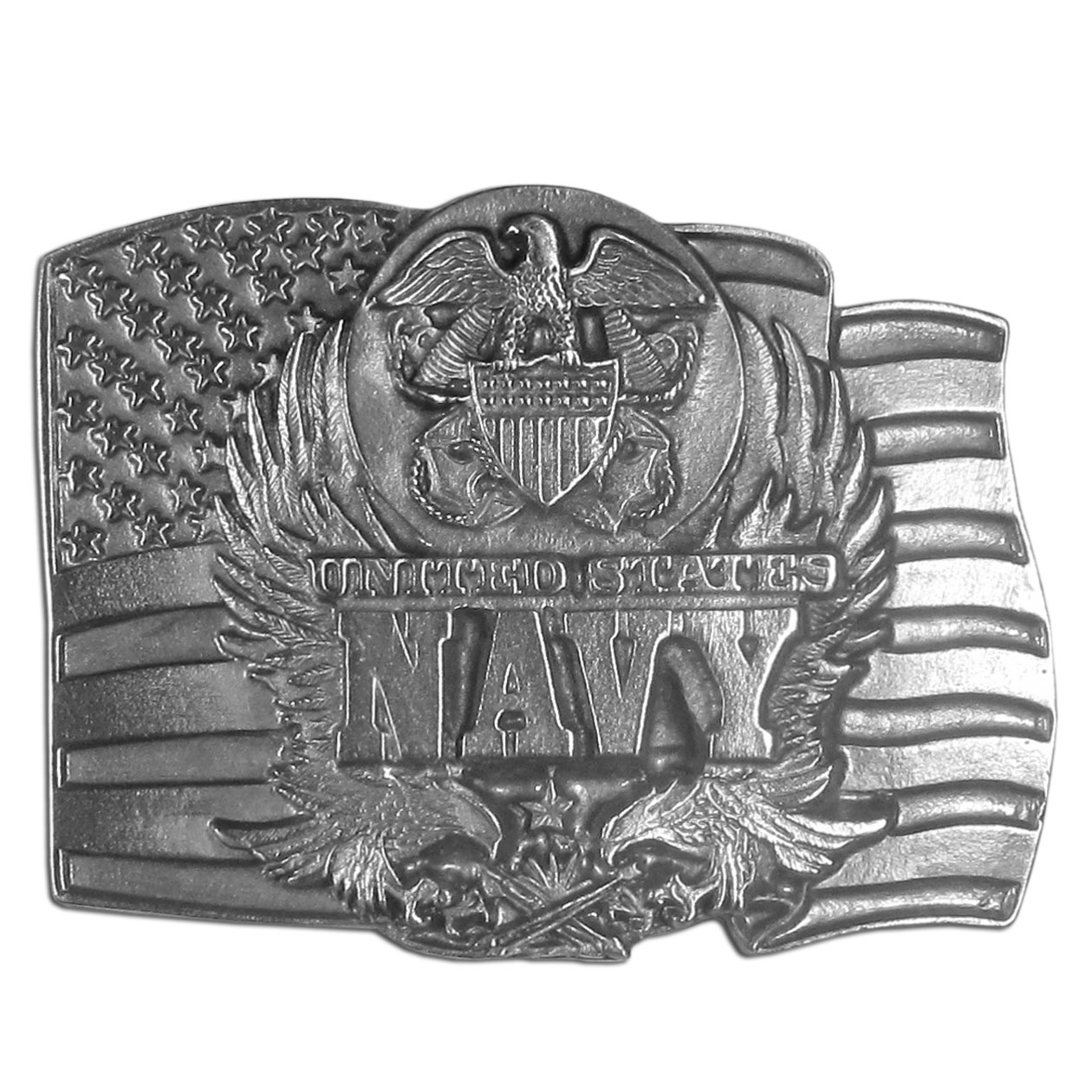 "Navy Seal on Flag Antiqued Belt Buckle - This belt buckle celebrates the Navy with the words ""United States Navy"" written in bold across the center with an American flag, the Navy seal and eagles.  On the back are the words, ""The Navy was established in 1775.  Today the U.S. Navy is second to none as the most powerful navy in the world.""  This exquisitely carved buckle is made of fully cast metal with a standard bale that fits up to 2inch belts."
