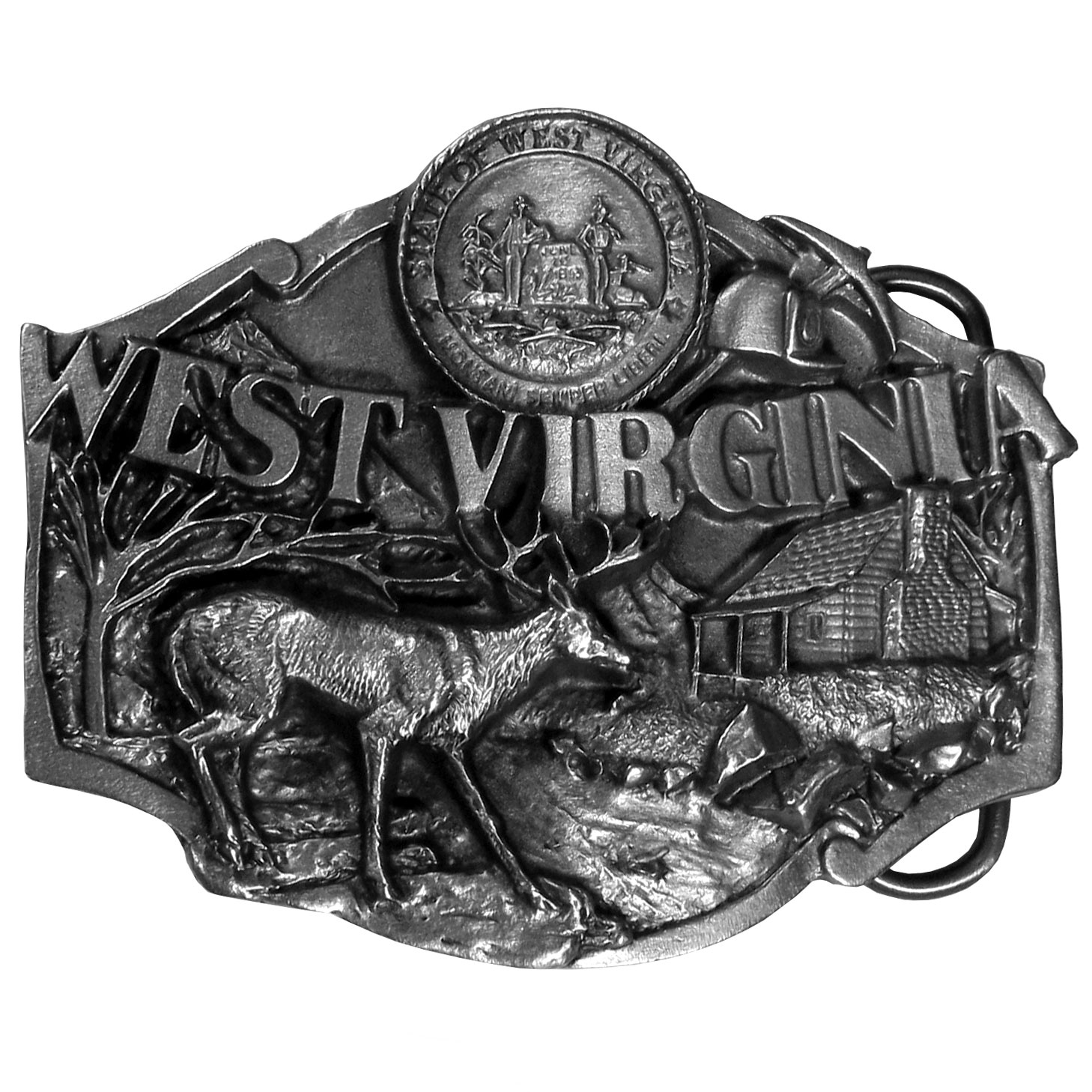 "W. Virginia Antiqued Belt Buckle - ""This belt buckle celebrates West Virginia.  On the top is the state seal of West Virginia, with a miner hat and pickaxe below.  """"West Virginia"""" is written in bold with a deer, a log cabin, a river, mountain and trees below.  On the back are the words, """"West Virginia became the 35th state on June 20, 1863.  The state flower is the Rhododendron and the state bird is the Cardinal.""""  This exquisitely carved buckle is made of fully cast metal with a standard bale that fits up to 2"""" belts."""