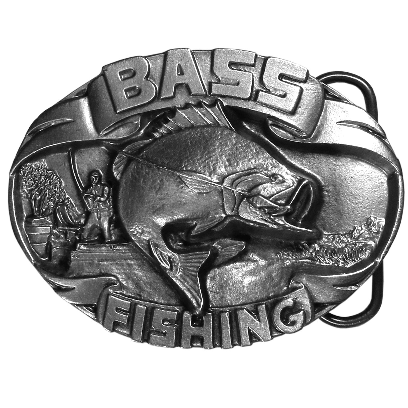 "Bass Fishing Antiqued Belt Buckle - ""This finely sculpted and hand enameled belt buckle celebrates the bass fisherman!  There is a huge bass jumping out of the water with a hook and line in his mouth.  A fisherman is reeling him in from a boat.  This exquisitely carved buckle is made of fully cast metal with a standard bale that fits up to 2"""" belts. unequaled with the best craftsmanship."""