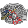I'll Give Up My Gun Enameled Belt Buckle