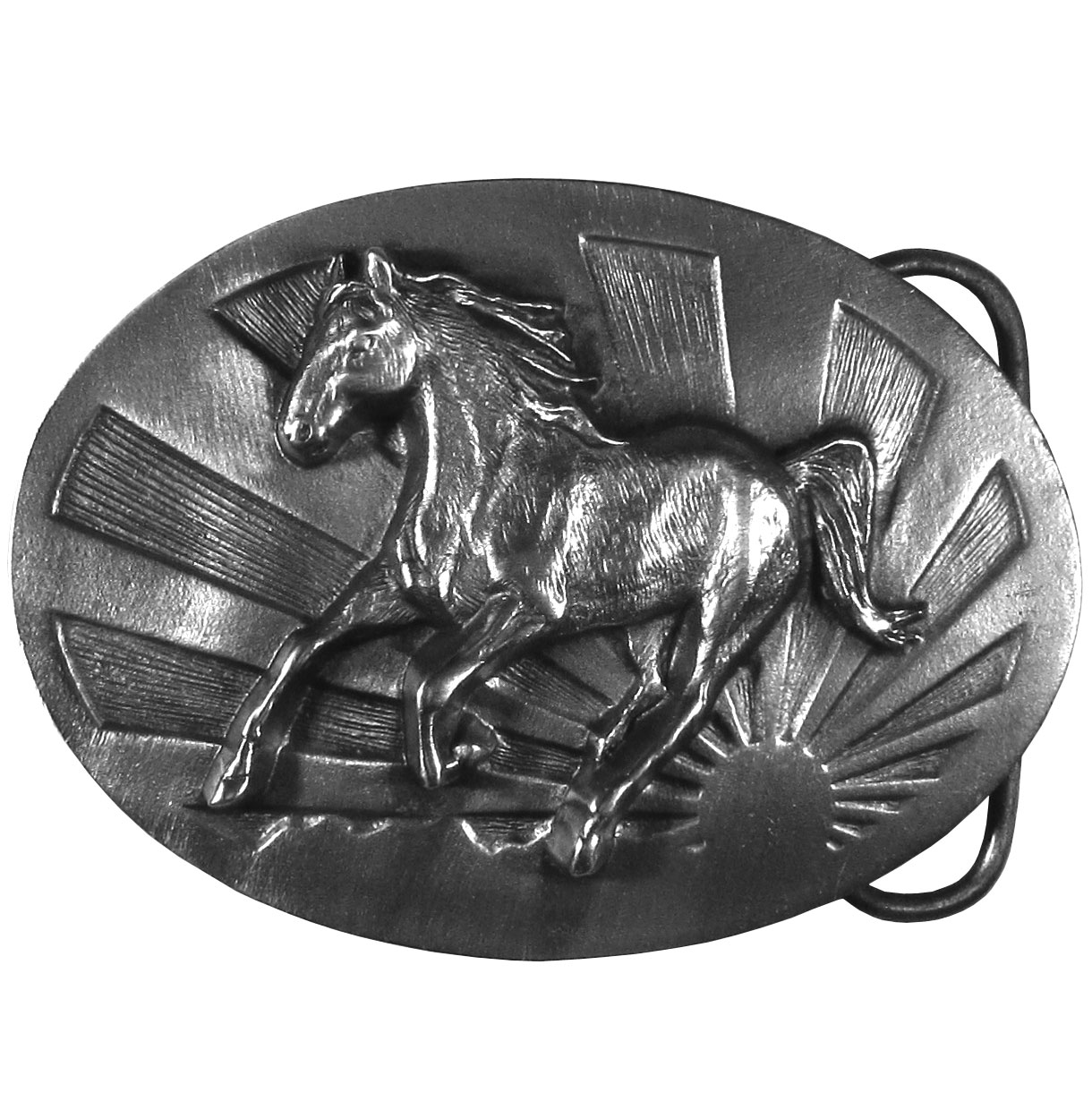 "Running Horse Antiqued Belt Buckle - ""This beautiful belt buckle features a running horse with a sunshine in the background.  On the back are the words, """"This buckle is a tribute to the horse.  The horse is a powerful and beautiful animal that has served mankind for hundreds of years.  Few sights are as awe inspiring as a running horse.""""  This exquisitely carved buckle is made of fully cast metal with a standard bale that fits up to 2"""" belts."""