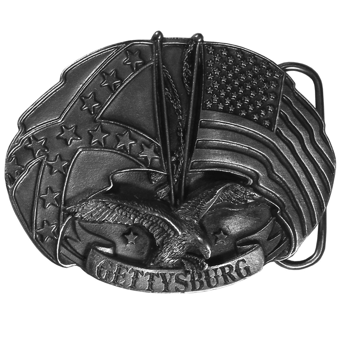 "Gettysburg Antiqued Belt Buckle - ""This buckle honors the Battle of Gettysburg.  ""Gettysburg"" is written in bold across the bottom with an American flag and a Confederate flag, as well as an eagle, above.  On the back are the words, """"Gettysburg is the site of General Mead's defeat of General Lee on July 1-3, 1863, is also where President Lincoln delivered his stirring address on November 19th of that same year.""""  This exquisitely carved buckle is made of fully cast metal with a standard bale that fits up to 2"""" belts.  Siskiyou's unique buckle designs often become collectors items."""