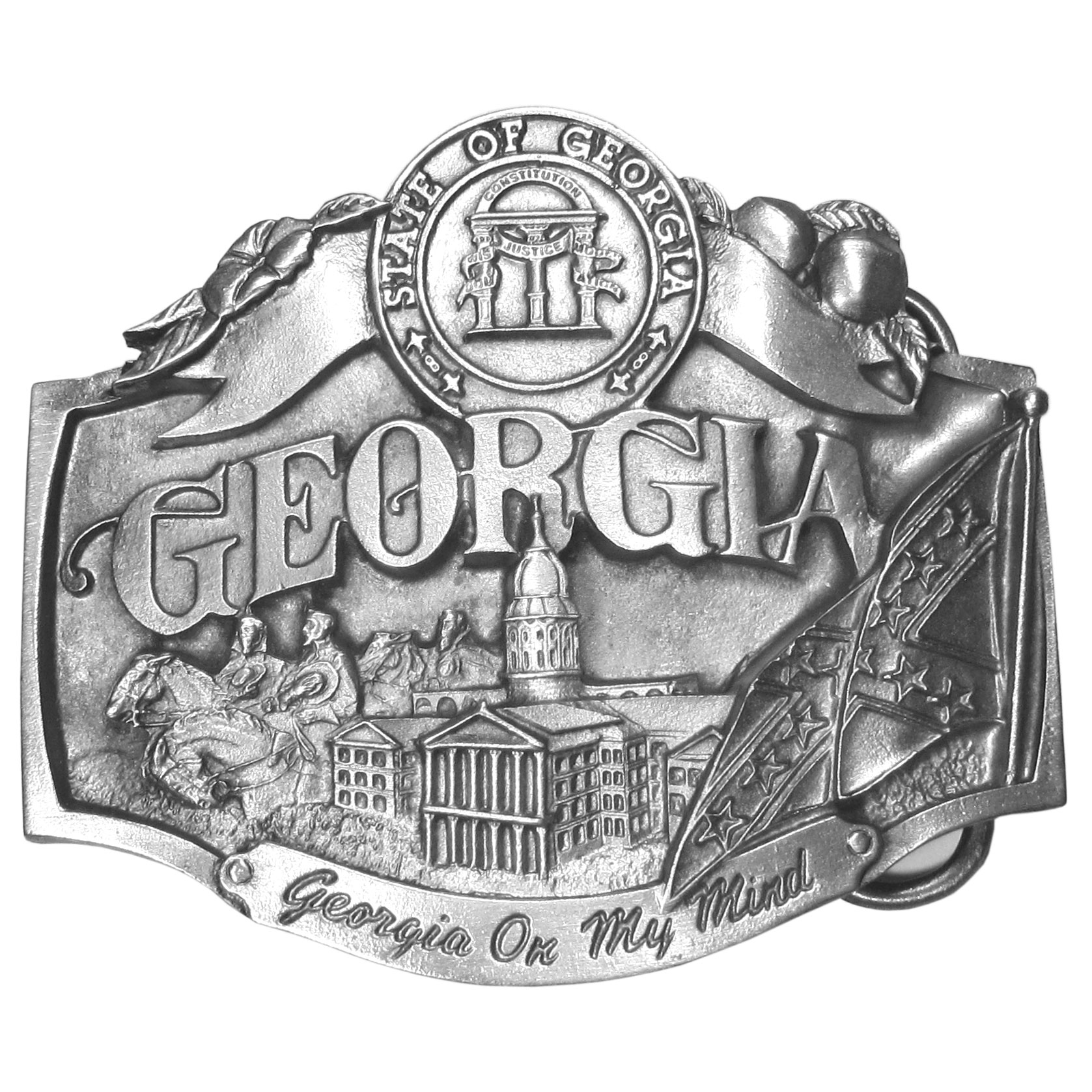 "Georgia on my Mind Antiqued Belt Buckle - ""This belt buckle celebrates the state of Georgia!  On the top is the state seal of Georgia with """"Georgia"""" in bold across on the center and """"Georgia on my mind"""" on the bottom.  There is the state flower of Georgia, the Cherokee Rose, acorns from the state tree, the Southern Live Oak, the Confederate flag, armed soldiers on horses and the state capital building.  On the back are the words, """"Georgia became the 4th state on January 2, 1788.  The state bird is the Brown Thrasher.  The state flower is the Cherokee Rose.  The state song is """"Georgia on My Mind."""""""