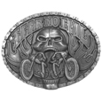 Fear No Evil Antiqued Belt Buckle