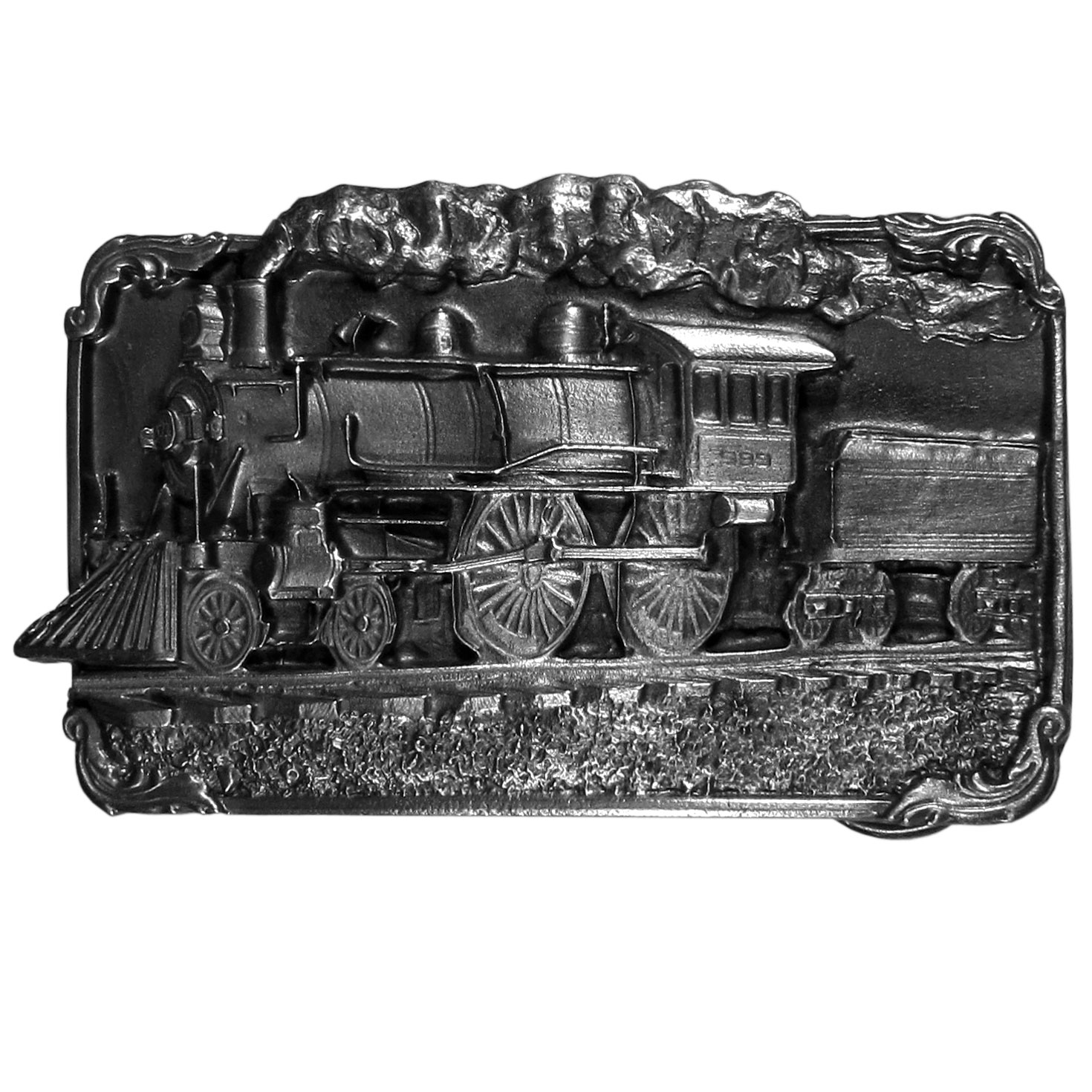 "Train Antiqued Belt Buckle - ""This beautifully carved belt buckle features the locomotive.  Across the front is a railroad car with steam coming out of it on a train track.  On the back are the words, """"The growth and greatness of the United States and Canada is due in large part to the important historic role of the railroads.  This spirit lives on today.""""  This exquisitely carved buckle is made of fully cast metal with a standard bale that fits up to 2"""" belts."""