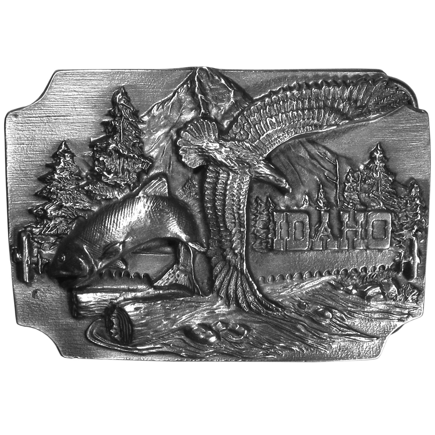 "Idaho Antiqued Belt Buckle - ""This belt buckle celebrates Idaho!  In the center is a fish and an eagle with a mountain, trees, a river, a crosscut saw and a felled tree.  On the back are the words, """"Idaho...Where life is worth living."""" This exquisitely carved buckle is made of fully cast metal with a standard bale that fits up to 2"""" belts."""