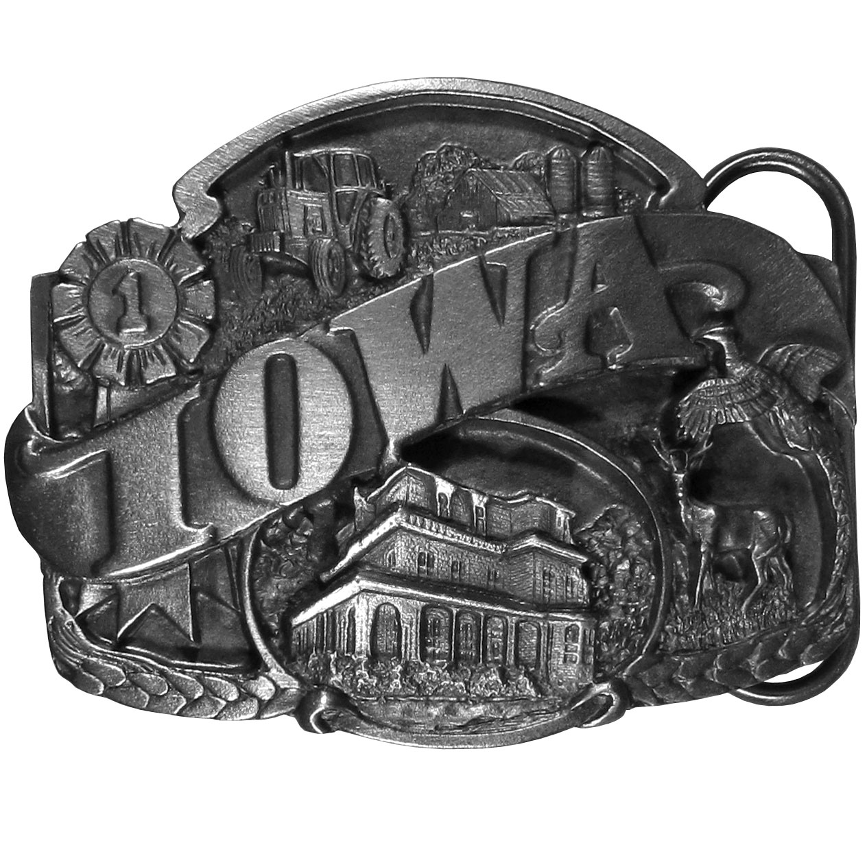 "Iowa Antiqued Belt Buckle - ""Do you love Iowa?  This belt buckle is for you!  """"Iowa"""" is written in bold across the center.  On the top is a state fair #1 ribbon and a farm with a tractor and barn and below is a pheasant, a deer, a plantation and chaffs of wheat.  On the back are the words, """"Iowa became the 29th state on Dec 28, 1846.  The state bird is the Eastern Goldfinch and the state tree is the Oak."""""""