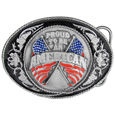 Proud To Be An American  Enameled Belt Buckle