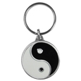 Ying Yang Metal Key Chain with Enameled Details