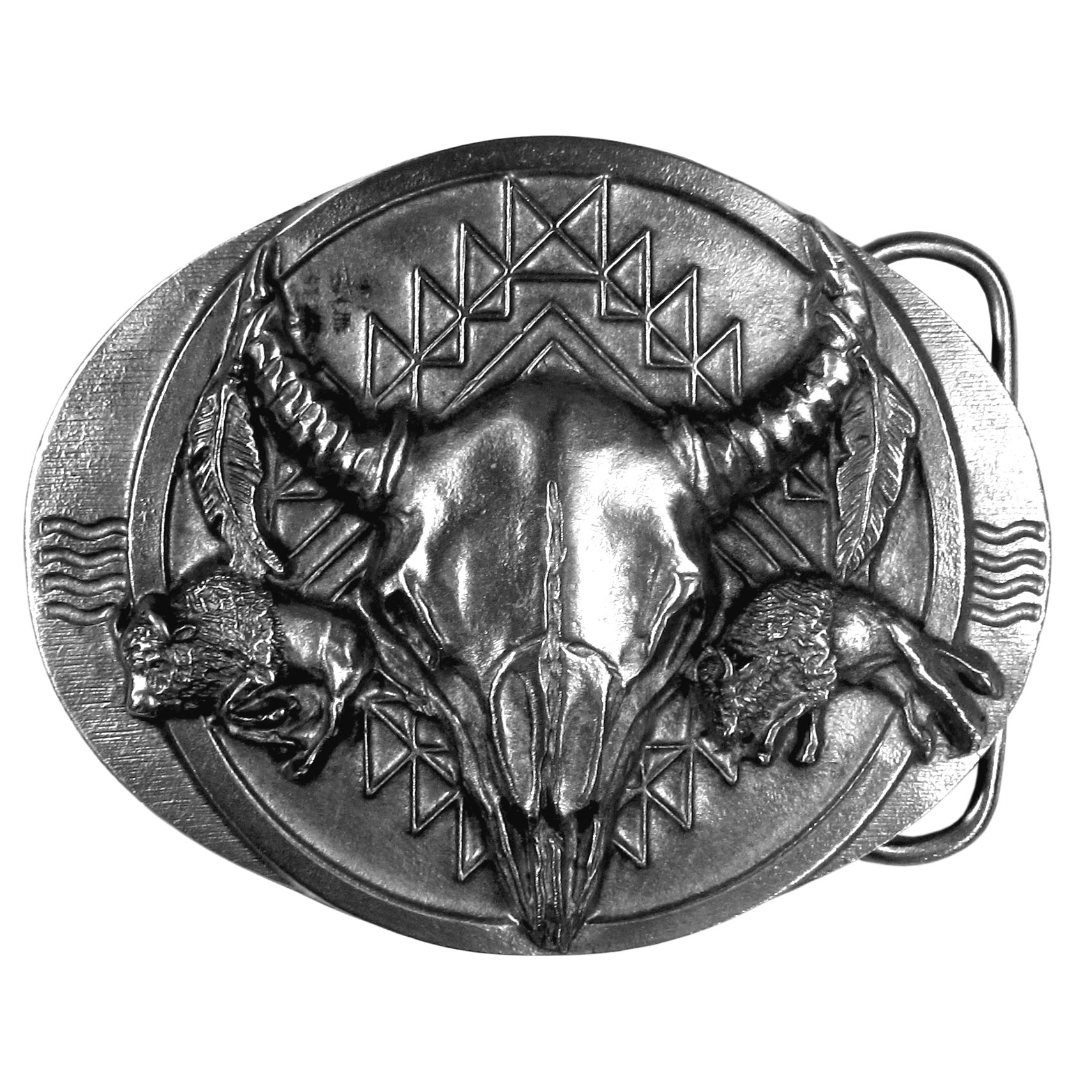 "Buffalo Skull Antiqued Belt Buckle - ""This exquistely carved oval buckle has a centered buffalo skull.  On each side there is a running buffalo, feathers and Native American hieroglyphics.  This antiqued bucked is made of fully cast metal with a standard bale that fits up to 2"""" belts."""