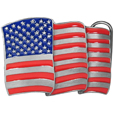 American Flag Enameled Belt Buckle