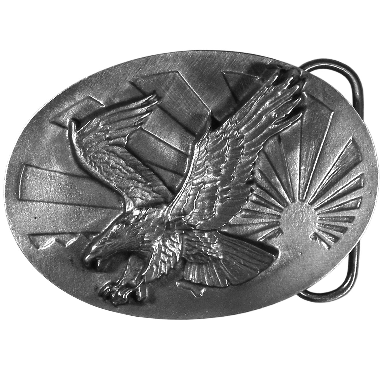 "Eagle and Sun Antiqued Belt Buckle - ""This belt buckle has an eagle with it's claws outstretched as if catching prey.  There is a stylized sunshine in the background.  On the back are the words, """"Come dance with the west wind and touch all the mountain tops, sail o'er the canyons and up to the stars; And reach for the heavens and hope for the future, and all that we can be and not what we are.""""  John Denver from The Eagle and The Hawk."""