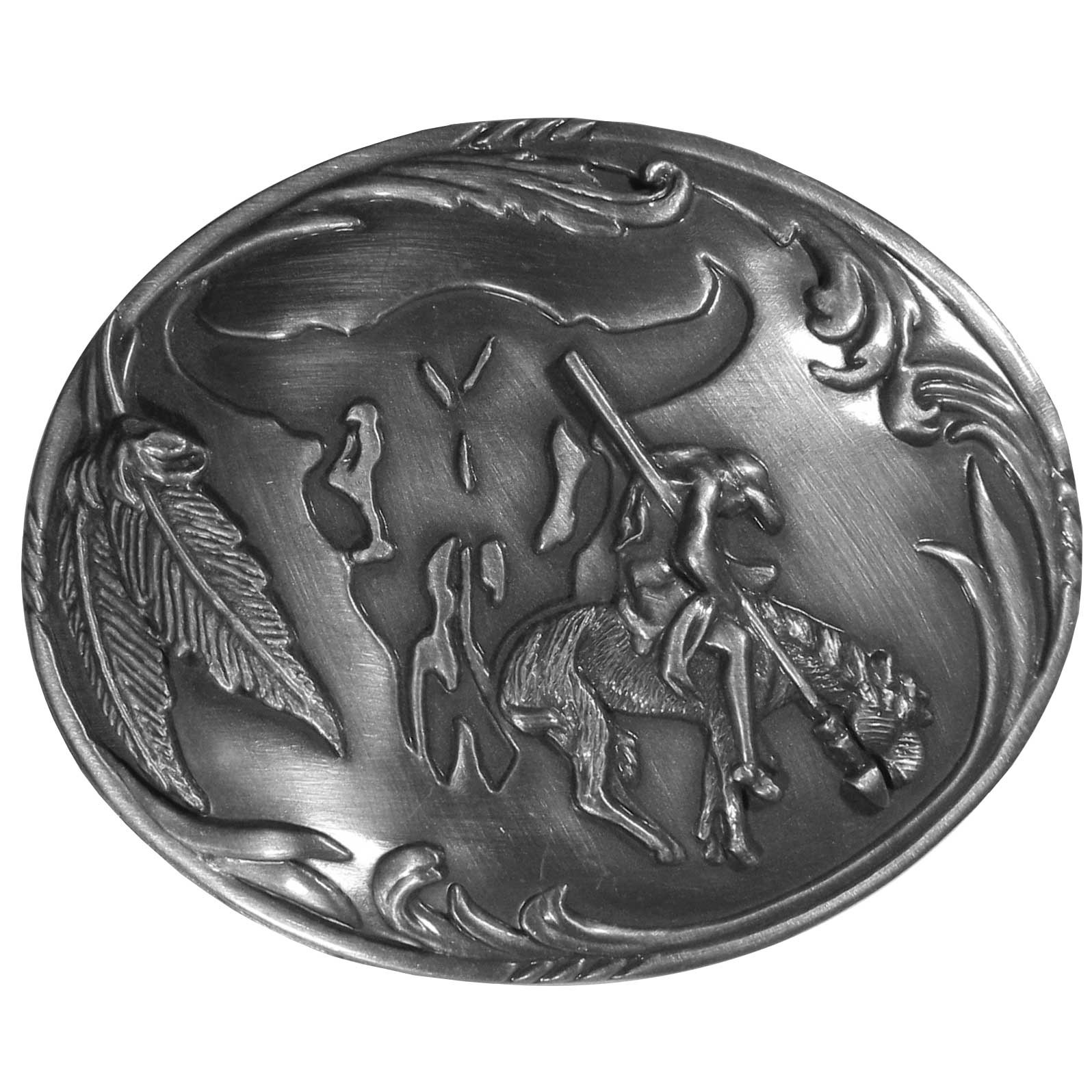 "End of the Trail with Buffalo Skull Background Antiqued Belt Buckle - ""End of the Trail buckle depicts an American Indian brave hanging limp as his horse comes to an abrupt halt just prior to momentum carrying him over an unseen precipice.  In the background is the silhouette of a bison skull and feathers.  On the back are the words, """"End of the Trail, for all the world one prayer that all men live as brothers and peace reign everywhere."""""""