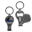 Thin Blue Line Police Flag Nail Care/Bottle Opener Key Chain