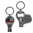 Thin Red Line Firefighter Flag Nail Care/Bottle Opener Key Chain