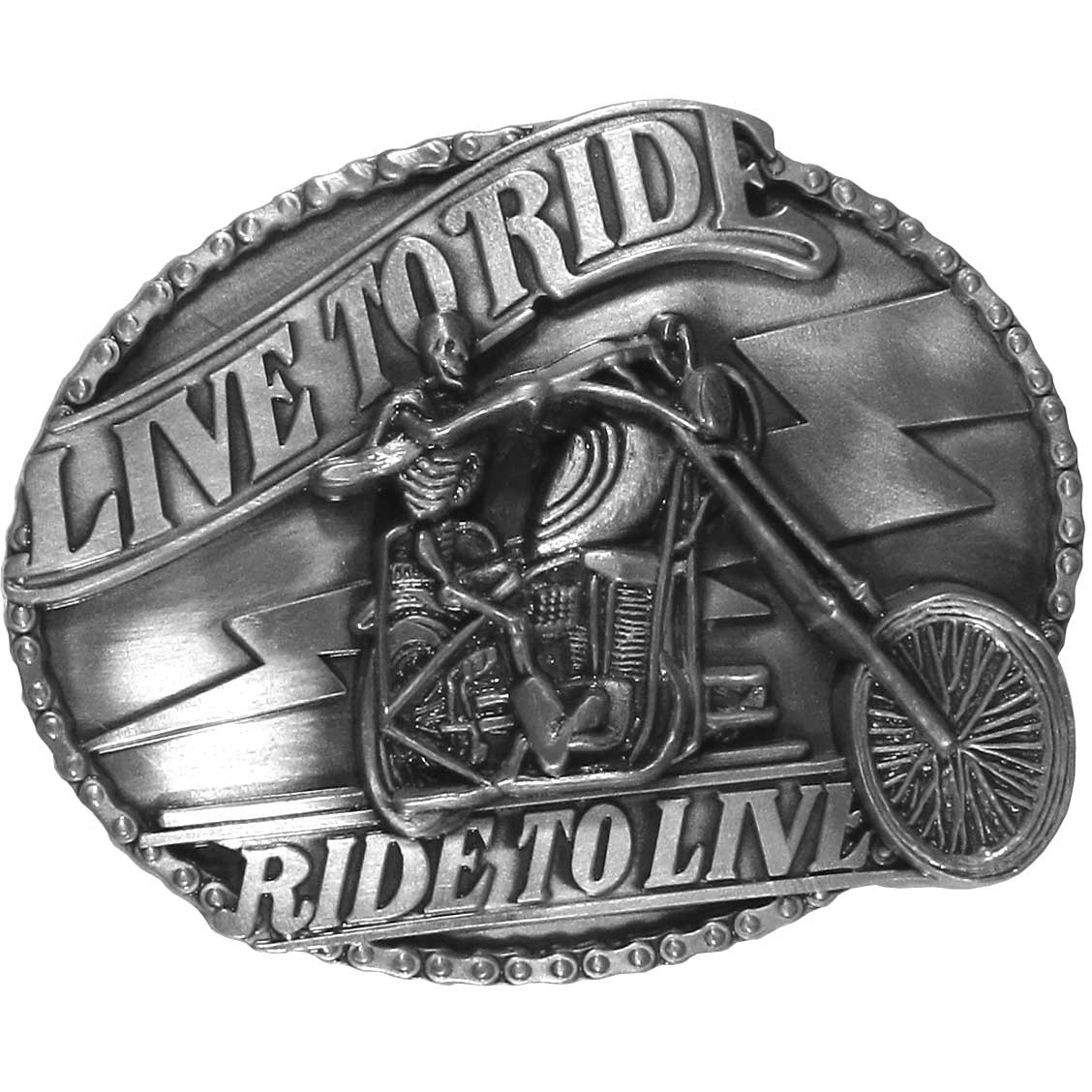 Live to Ride Motorcycle Skeleton Antiqued Belt Buckle - Our fully cast, metal Live to Ride belt buckle features an expertly carved skeleton riding a chopper. The epic biker slogan Live to Ride Ride to Live is written in bold and the buckle border is a motorcycle chain.