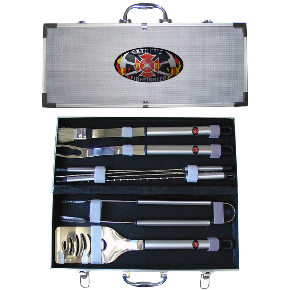 "Extreme Firefighter 8 pc BBQ Set - ""Our 8 pc BBQ set includes a spatula with knife edge, grill fork, tongs, basting bursh and 4 skewers. The tools are approximately 19"""" long and have sturdy stainless steel handles. The aluminum carrying case features a metal carved emblem with enameled finish."""