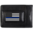 Thin Blue Line Police Flag Leather Cash and Cardholder