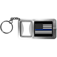 Thin Blue Line Police Flag Flashlight Key Chain with Bottle Opener