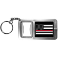 Thin Red Line Firefighter Flag Flashlight Key Chain with Bottle Opener