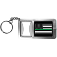 Thin Green Line Army Flag Flashlight Key Chain with Bottle Opener