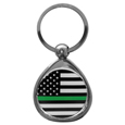 Thin Green Line Army Flag Chrome Key Chain