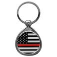 Thin Red Line Coast Guard Flag Chrome Key Chain