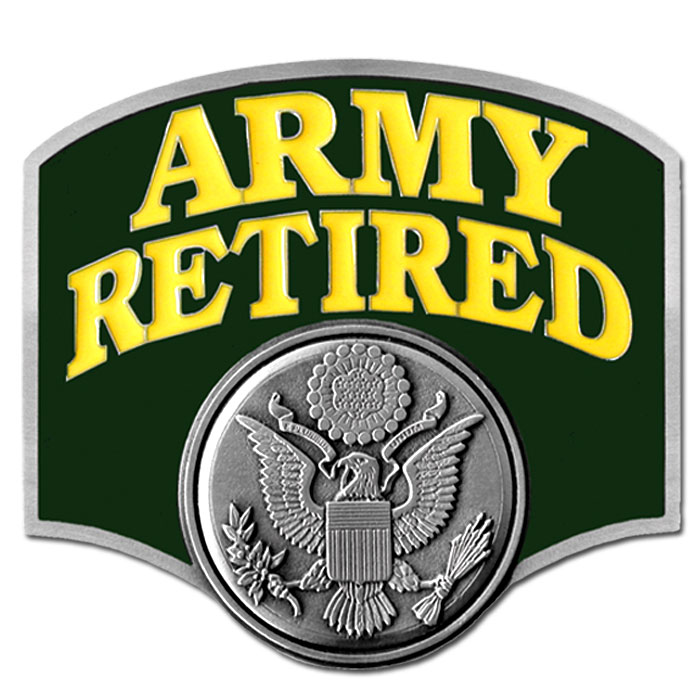 Army Retired Hitch Cover - Our Army retired hitch cover is a durable and attractive way to show off your military pride. The hitch fits a class III hitch receiver.