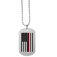 Thin Red Line Coast Guard Flag Tag Necklace