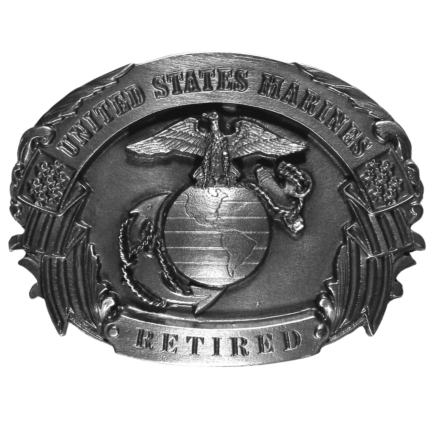 "Marines Retired Antiqued Belt Buckle - ""Are you retired from the Marines?  This belt buckle is for you!  """"United States Marines, Retired"""" is written in bold with the Marine seal in the center and a banner made out of American flags on the sides.  On the back are the words, """"To all those who have served their country, America says Thanks!""""  This exquisitely carved buckle is made of fully cast metal with a standard bale that fits up to 2"""" belts."""