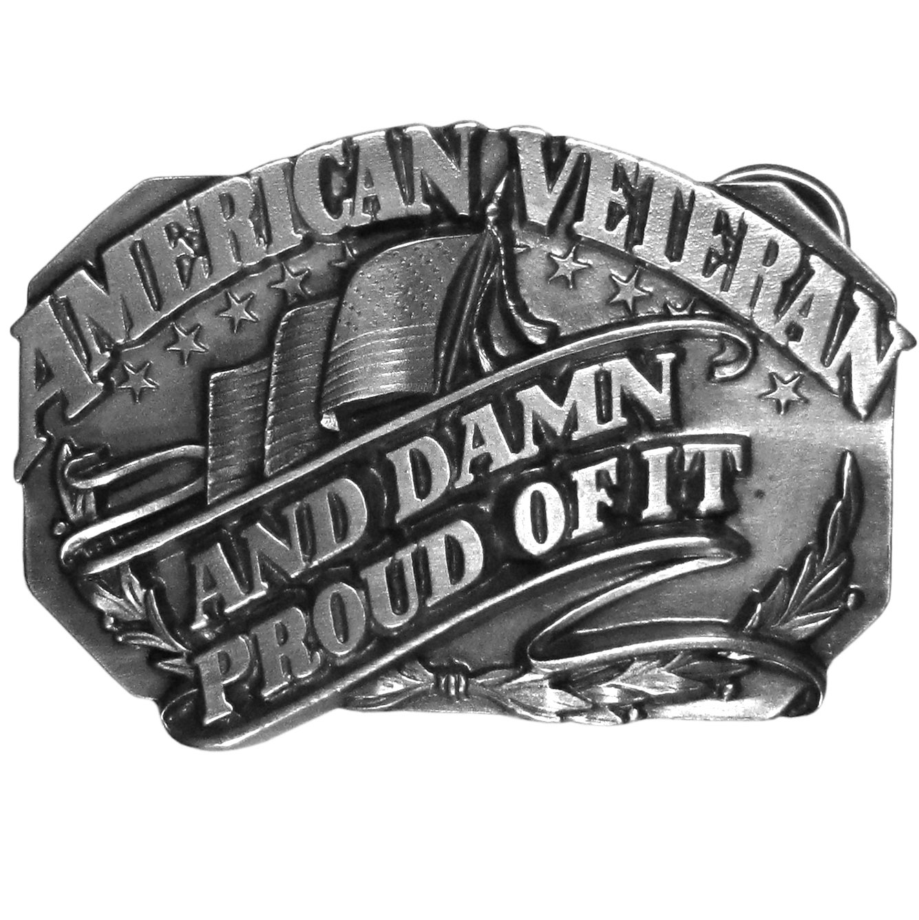 "American Veteran and Damn Proud of it Antiqued Belt Buckle - """"""American Veteran and Damn Proud of It"""" is written in bold across this belt buckle.  There is an American flag and stars as well.  On the back are the words, """"To those who have served in the cause of freedom...America says Thank You!""""  Finely sculpted and intricately designed belt buckle. Our unique designs often become collector's items."""