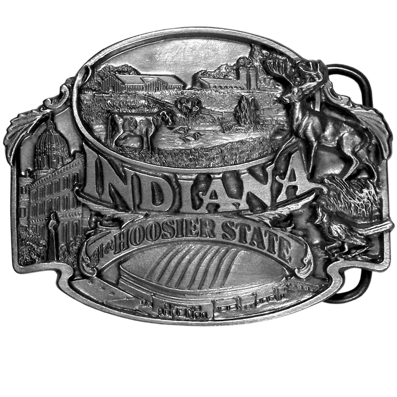 "Indiana The Hoosier State Antiqued Belt Buckle - """"""Indiana the Hoosier State"""" is written in bold on this belt buckle.  There is a farm with barns, cows, a river and silos on the top with the Indiana state capitol, the Hoosier Dome, a whitetailed deer and a cardinal.  On the back are the words, """"Indiana, the Hoosier state, known for the beautiful countryside, great cities and exceptional people.""""  Finely sculpted and intricately designed belt buckle. Our unique designs often become collector's items."""
