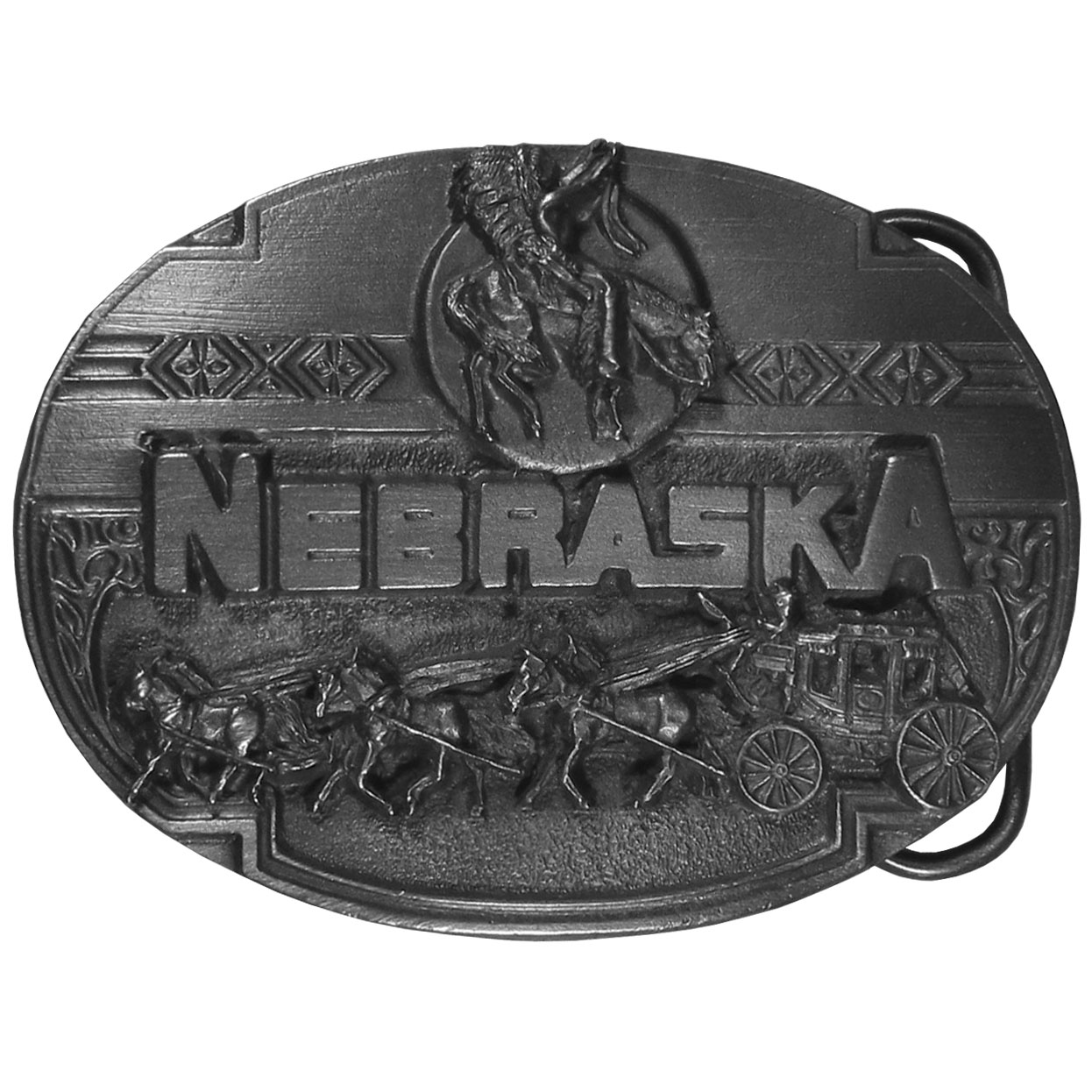 "Nebraska Stage Coach Antiqued Belt Buckle - ""Do you love Nebraska?  This belt buckle is for you!  """"Nebraska"""" is written in bold with a stage coach and horses, an Indian on a horse and Native American design detail. Finely sculpted and intricately designed belt buckle. Our unique designs often become collector's items."""