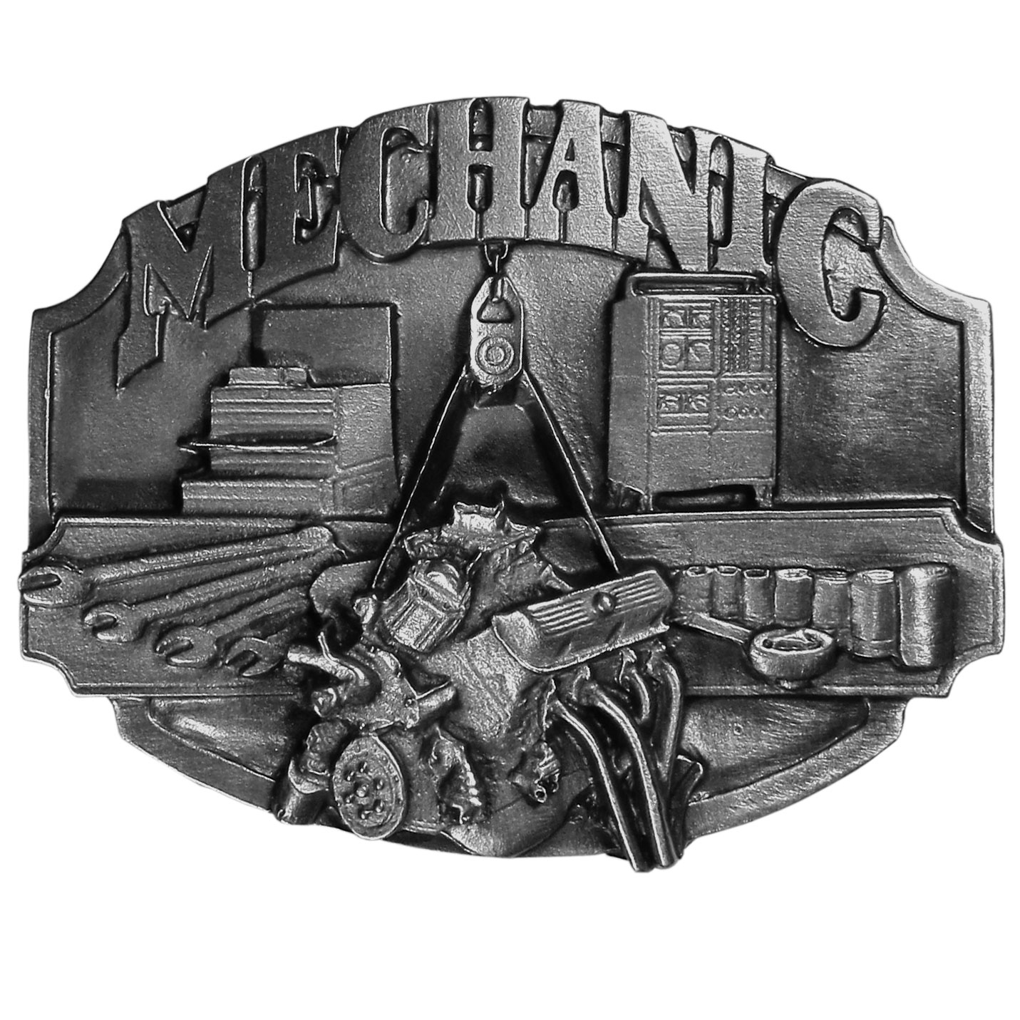 "Mechanic Antiqued Belt Buckle - ""This belt buckle celebrates the mechanic.  """"Mechanic"""" is written in bold with tools of the trade below.  On the back are the words, """"Mechanics keep the world moving"""".  Finely sculpted and intricately designed belt buckle. Our unique designs often become collector's items."""