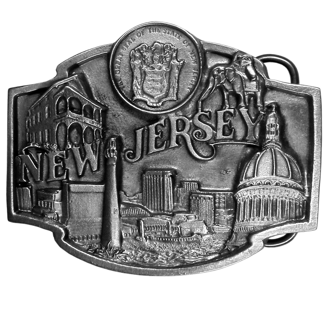 "New Jersey State Seal Antiqued Belt Buckle - ""This buckle dedicated to the state of New Jersey has images of New Jersey, the state seal, the state capital, the Atlantic Ocean and one of the states many lighthouses.  This exquisitely carved buckle is made of fully cast metal with a standard bale that fits up to 2"""" belts."""