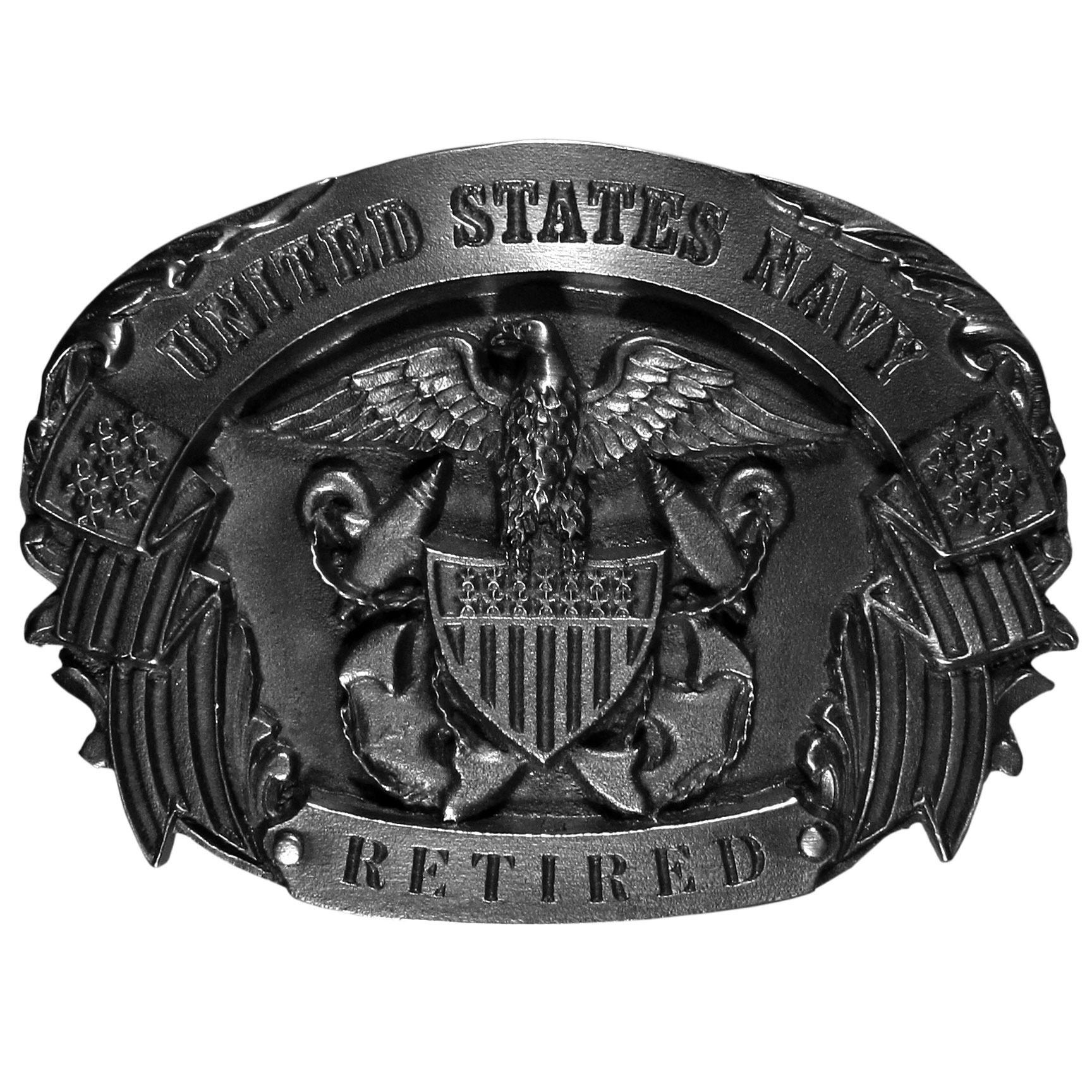 Navy Retired Belt Buckle - Finely sculpted and intricately designed belt buckle. Our unique designs often become collector's items.
