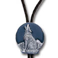 Howling Wolf Diamond-Cut Large Bolo Tie