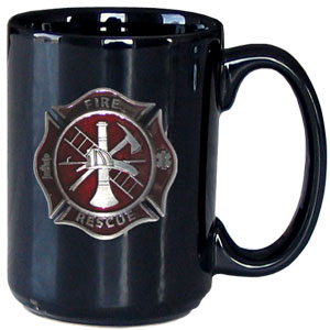 Firefighter Coffee Mug - Our firefighter mug is 12 oz and features a 3D metal logo cut emblem that has a hand enameled finish.