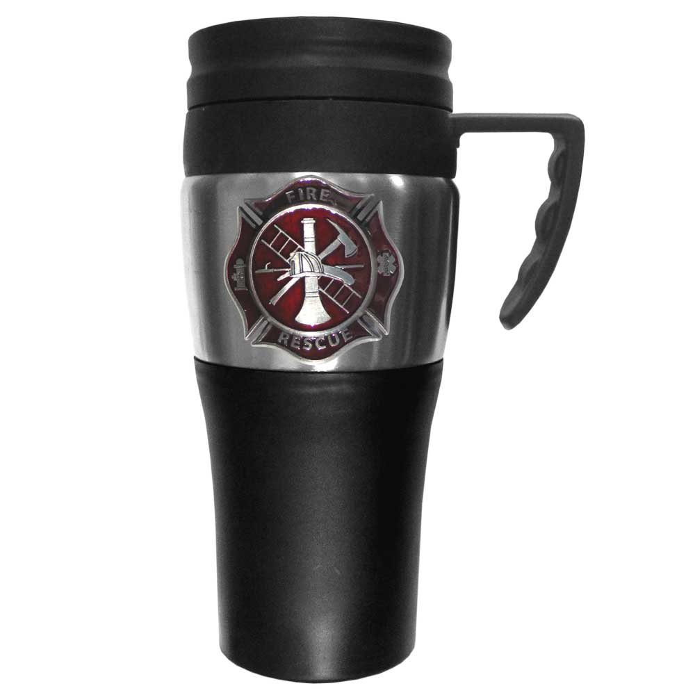 Firefighter Logo Travel Mug - Our firefighter stainless steel travel mug is 14 oz and features a 3D metal logo cut maltese cross emblem that has a hand enameled finish.