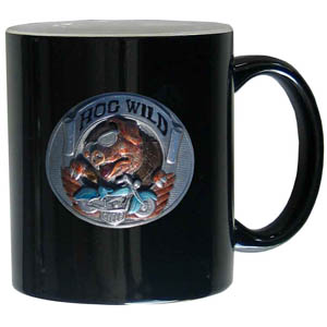 Hog Wild 11 oz Mug - This ceramic coffee mug holds 11 oz with a vibrant 2 tone look and features an enameled metal emblem.