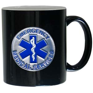 EMS 11oz Mug - This ceramic coffee mug holds 11 oz with a vibrant 2 tone look and features an enameled metal emblem.